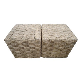 Pair of Palecek Spa Hassock Rattan Weave Ottoman / Side Table