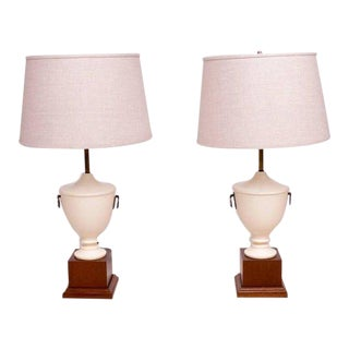 Antique Neoclassical Table Lamps, Solid Mahogany - A Pair