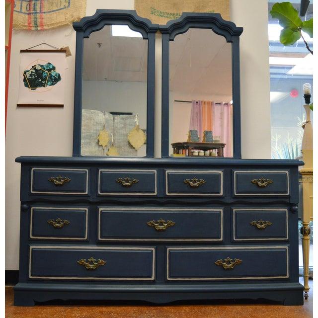 Mirrored 8-Drawer Navy Blue Dresser - Image 2 of 11