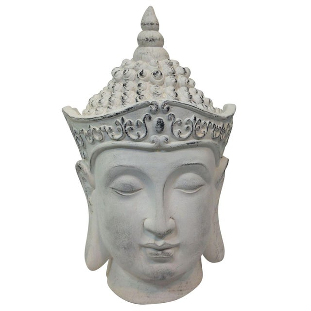Image of Large Plaster Buddha Head Statue