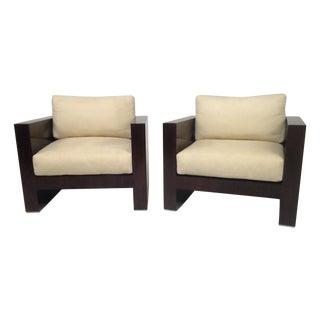 Modern Rosewood Club Chairs - A Pair