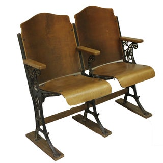 Antique Wood And Cast Iron Theater Seats - Pair