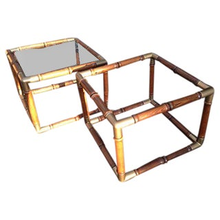 Faux Bamboo Side or Coffee Tables - A Pair