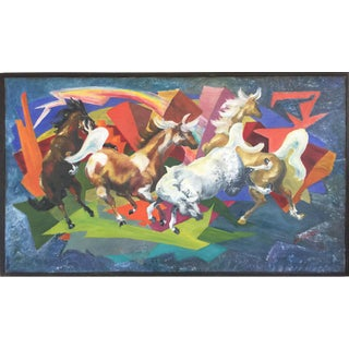 1960s Expressionist Horses & Lightning Painting