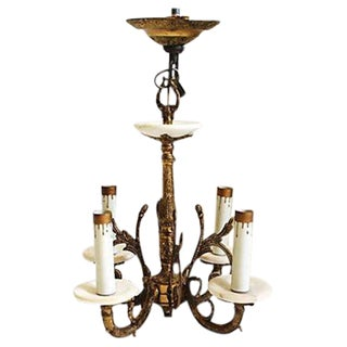 Spanish Brass & Alabaster Chandelier