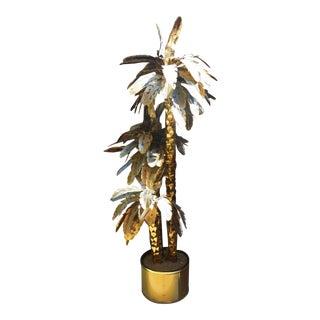 Mid-Century Modern Brass Regency Metal Palm Tree Sculpture