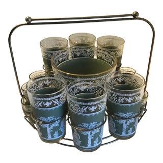 Mid-Century Modern Pompeii Sage Glassware Set - Set of 13