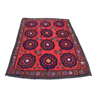 Red & Blue Antique Suzani Quilt