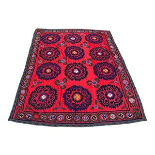 Red & Blue Antique Suzani Quilt