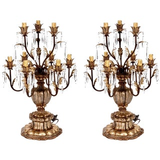 19th Century Italian Gilt Wood & Crystal Lustre Lamps - A Pair