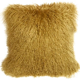 Mongolian Sheepskin Soft Gold Throw Pillow