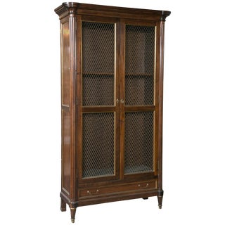 French Neoclassical Mahogany Bookcase Cabinet