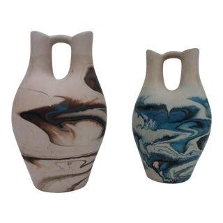Nemadji Wedding Art Pottery Vases - a Pair