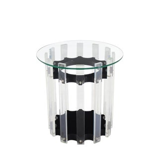 Lucite Base Round Side Table