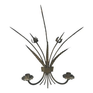 Wrought Iron Candlestick Sconces - A Pair