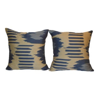 Cream & Blue Fabric Ikat Pillows - a Pair