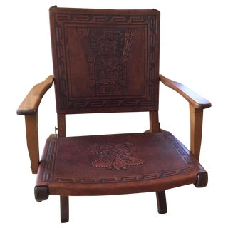 Rare Mid Century Folding Hand Tooled Leather Chair