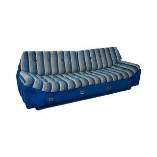 Milo Baughman Mid-Century Blue & White Striped Sofa