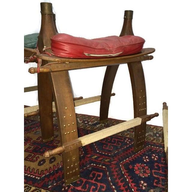 Vintage Egyptian Camel Saddle Bar Stools Set - 4 - Image 9 of 10