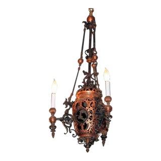 4-Arm Bronze Chandelier
