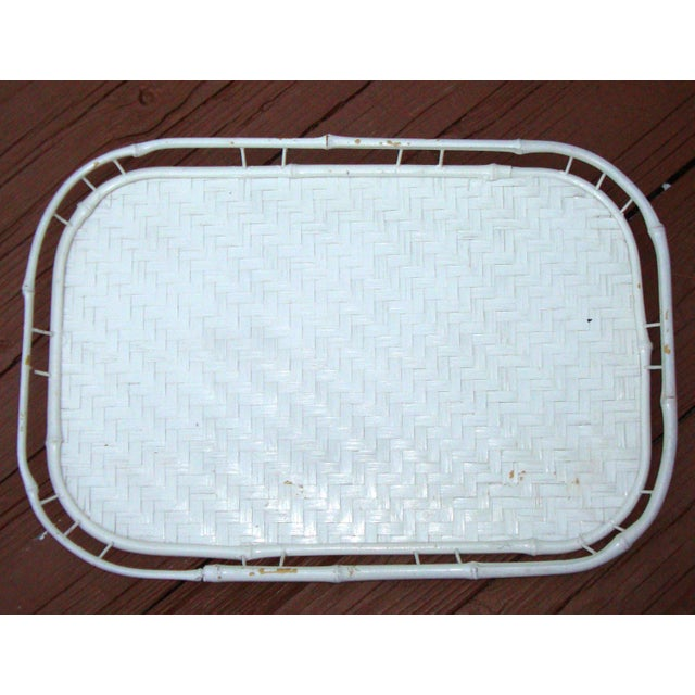 Hollywood Regency White Bamboo Rattan Trays - Image 7 of 11