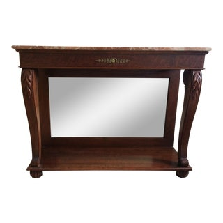 Ethan Allen Marble Top & Mirrored Console Table