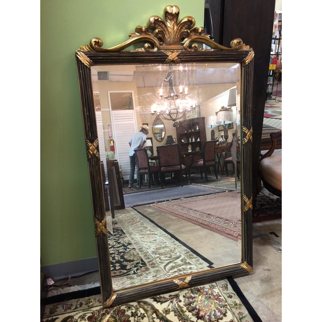 Black & Gold Hollywood Regency Style Mirror - Image 2 of 5