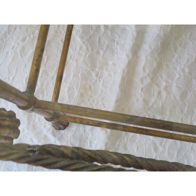 Mid-Century Italian Hollywood Regency Table With Gilt Cast Metal Rope Tassels Base Only - Image 5 of 9