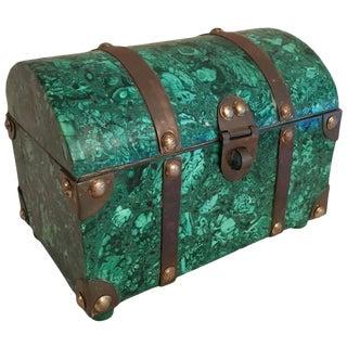 Italian Malachite and Brass Treasure Chest Box