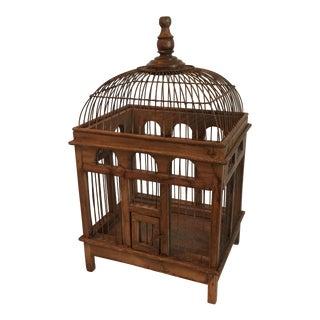 Vintage Wooden Functional Birdcage