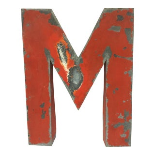 Red Painted French Metal M