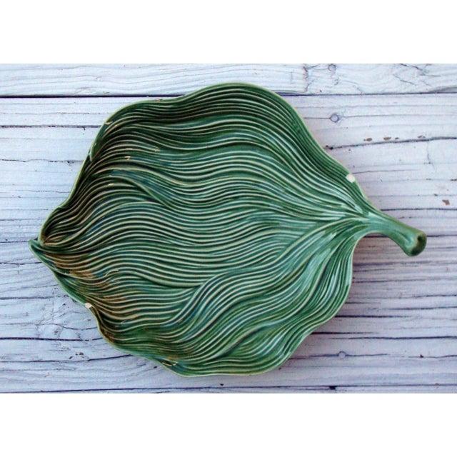 Antique Portuguese Green Leaf Majolica Ceramic - Image 7 of 10