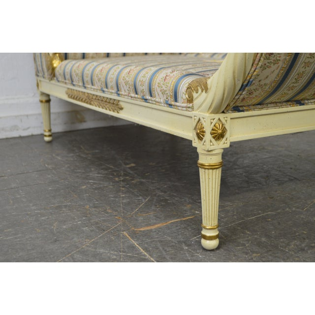 Meyer Gunther Martini French Louis XVI Swan Carved Painted Recamier Chaise Lounge - Image 5 of 10