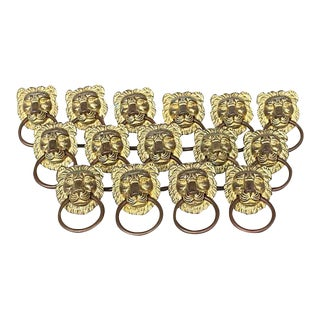 Solid Brass Lion Head Knobs - Set of 15