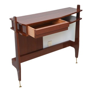 Pair of Italian Modern Mahogany and Brass Console, Attributed to Ico Parisi