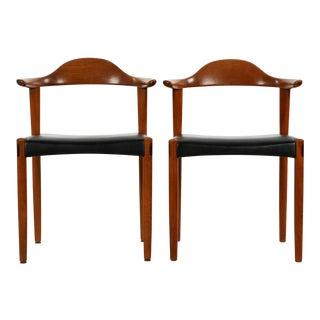 Danish Sculpted Teak Armchairs - A Pair