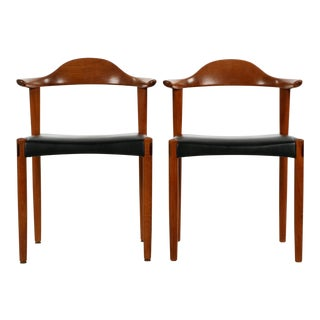 Danish Sculpted Teak Armchairs - A Pair