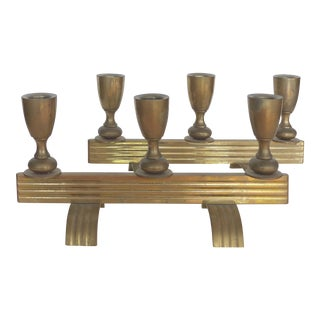 Art Deco Streamline Bronze Candlesticks- A Pair