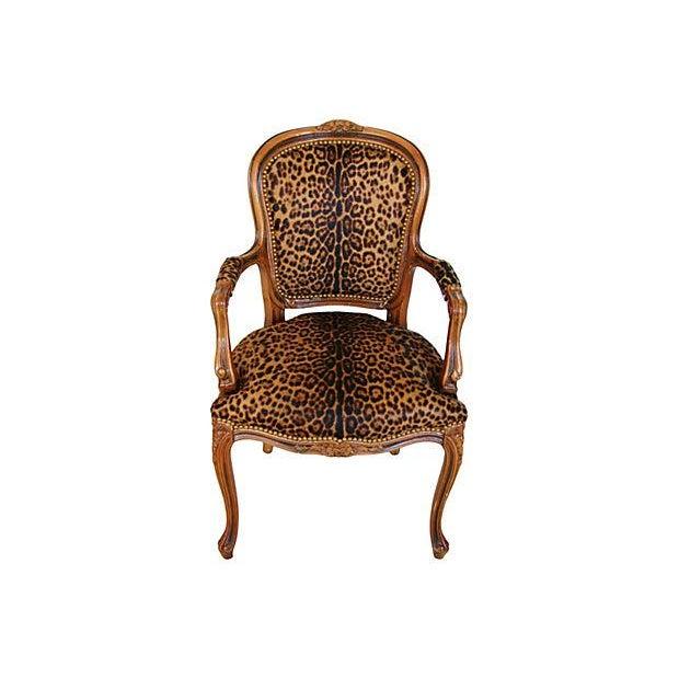 Image of Louis XV Walnut Armchair with Jaguar Spot Cowhide
