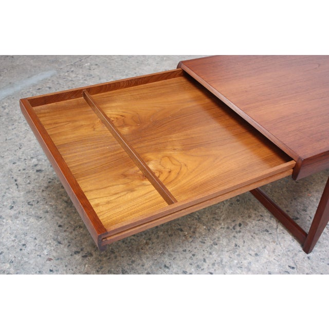 Danish modern teak extendable coffee table chairish Modern teak coffee table