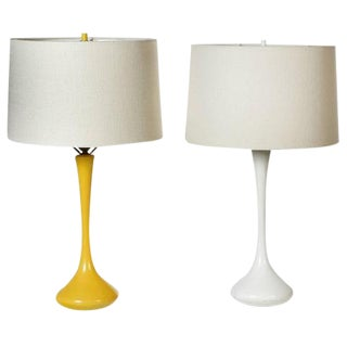 1970s Laurel Yellow and White Tulip Style Lamps - A Pair