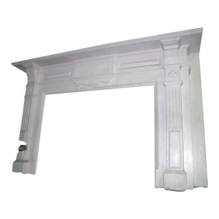 White Mahogany Mantel With Fleur De Lis Carvings