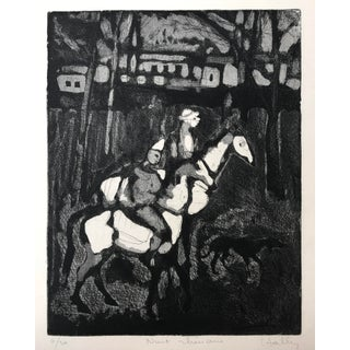 """Vintage French Etching """"Night Riders"""""""