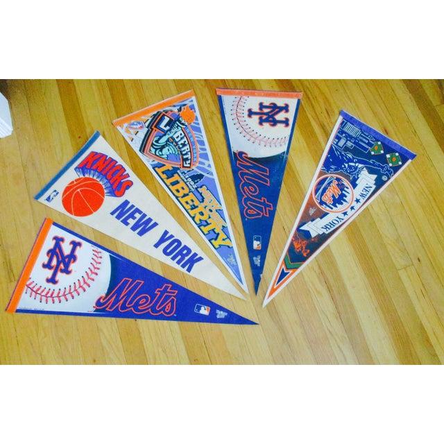 Image of New York City Mets Knicks Pennants - Set of 5