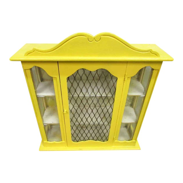 Yellow Painted Curio Cabinet - Image 1 of 8
