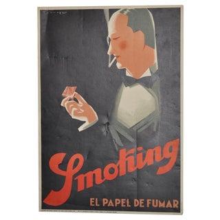 Vintage 1930s Art Deco Smoking Poster