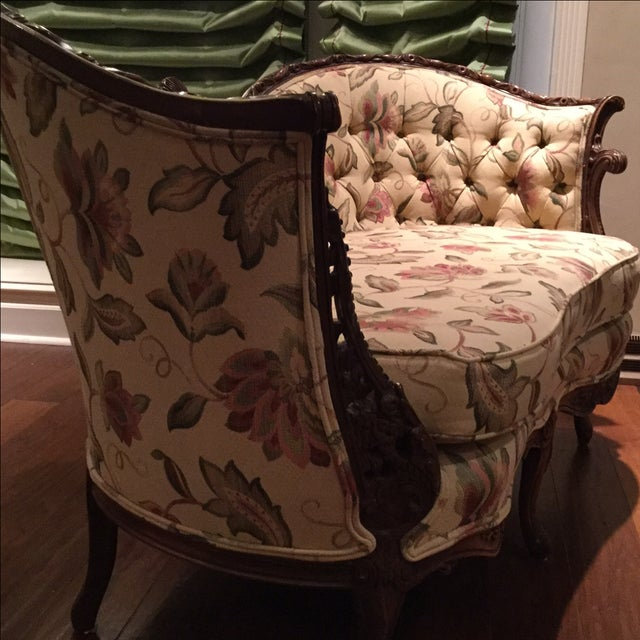 Mid-Century 1950 Floral Pattern Settee - Image 3 of 7