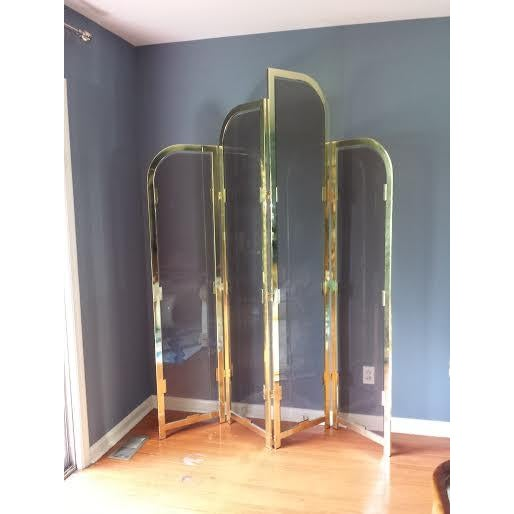 Brass & Smoked Glass Room Divider - Image 2 of 8
