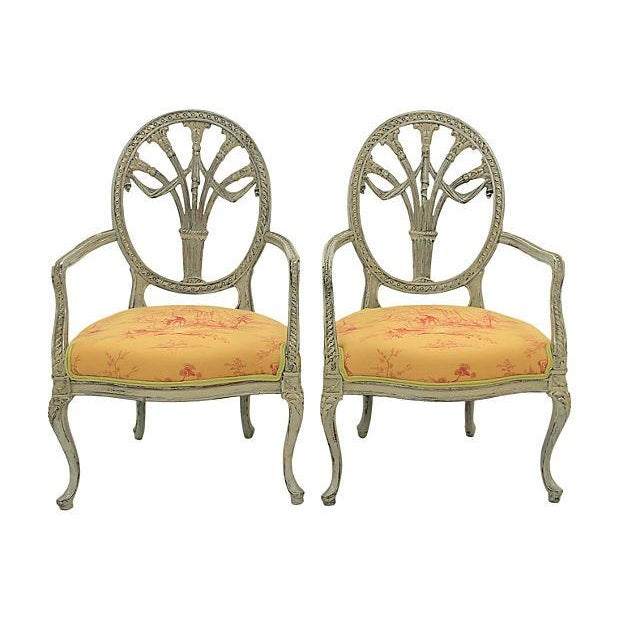 Image of Antique Yellow Fauteuil Chairs - A Pair