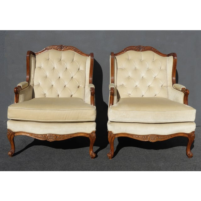 Pair of Bernhardt Tufted Wing Back Velvet Chairs - Image 4 of 11